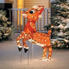Outdoor Pre Lit Lighted Animated Rudolph Reindeer Sculpture Christmas Yard Decor