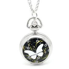 1 Silberfarbe Schmetterling Taschenuhr Kettenuhr Uhr mit Halskette 84.5cm