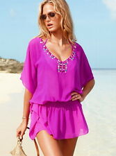 New VICTORIAS SECRET Very Sexy Swimwear Beaded Embellished Caftan Tunic CoverUp