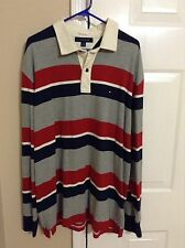 Men's Vintage Tommy Hilfiger Long Sleeve Rugby Striped Polo Shirt Size XL
