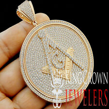 ROSE GOLD FINISH MEDALLION LAB DIAMOND MENS PENDANT FREE MASON MASONIC G COMPASS