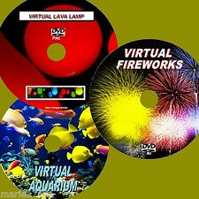 VIRTUAL FISH TANK, FIREWORKS & LAVA LAMP 3 SOOTHING DVD VIDEOS VIEW TV/PC NEW
