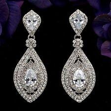 Rhodium Plated Clear Crystal Rhinestone CZ Bridal Drop Chandelier Earrings 05601