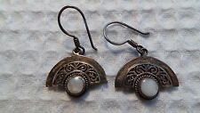 Soma Sterling Silver  925 Earrings Greek Fillagree Aged Mother of Pearl  Vintage