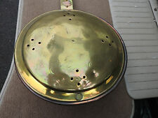 ANTIQUE VICTORIAN COPPER & BRASS  BEDPAN WOODEN HANDLE BED WARMER ENGRAVED
