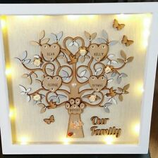 Personalised Family Tree frame size 13in x 13in With LED Lights, Box Frame,Gifts