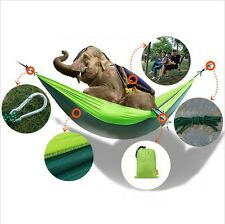 Portable Double Hammock Nylon Fabric Hanging Swing Bed Fr Outdoor Camping Travel