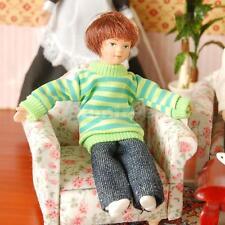 Dollhouse Miniature Porcelain Dolls 1:12 People Little Boy in Green Sweater