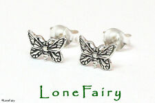 Solid 925 Sterling Silver Butterfly Stud Earrings Animals & Insects Jewellery