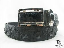 "PELGIO Genuine Crocodile Alligator Head Bump Skin Leather Men's Belt 46"" Black"