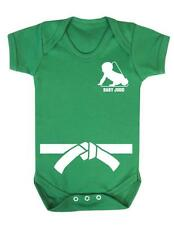 "Baby Play Suit ""Baby Judo with White Belt"" Judo Baby, Strong Baby - Baby Grow"
