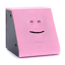 Cute Piggy Face Bank Saving Box Sensor Coin Money Eating Box Great Gift (Pink)