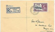 FALKLAND IS 1935 REGD ENV TO GLASGOW SCOTLAND FRANKED BY 1935 JUBILEE 1/-