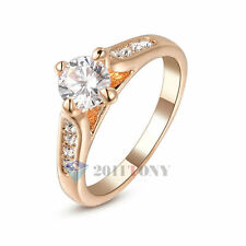 18K Rose Gold Plated Austria Crystal Simulated Diamond Wedding Rings Size Q