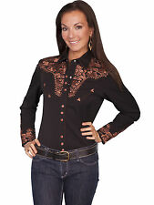 SCULLY Womens EMBROIDERED WESTERN GUNFIGHTER Shirt - 2XL - Black and Copper