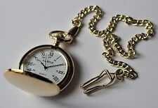 "Mens Pocket Watch. Gold Colour, Roman Numerals 14"" chain & clip.  + FREE Battery"