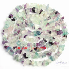 6-8mm Natural Fluorite Freeform Gravel DIY Gemstone Loose Beads Strand 34""