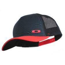 Oakley Crater Trucker Cap Black Red Mens Womens Adjustable Baseball Hat Vented