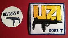 """Uzi 'Does It' Guns Firearms Manufacturer Embroidered 3"""" Patch & free sticker"""