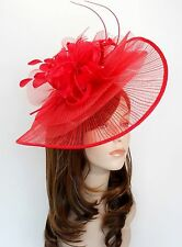 New Church Derby Wedding Pleated Poly Fascinator Dress Hat w Headband 2450 Red