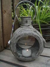 kl. WINDLICHT ♥ LATERNE ♥ rund  ♥ Teelichthalter Metall schlamm antik patiniert