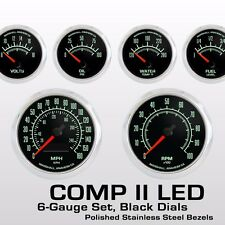 C2 60s Muscle 6 Gauge Set, Stainless Bezels, 2964SS Programmable Electric Speedo