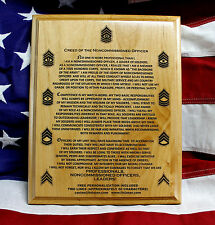 US ARMY NCO CREED Personalized Plaque, military graduation gift, solid wood