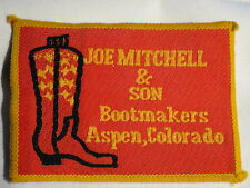 """Joe Mitchell & Son Bootmakers Aspen Colorado"" Sew on Cloth Patch Badge 1970's"