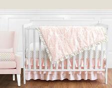 Sweet Jojo Blush Pink White Damask Gold Dots Bumperless Girl Crib Baby Bedding