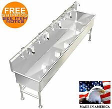 "HAND WASH SINK 5 STATION 120"" ELECTRONIC FAUCET FREE STANDING BIG TUB 10 DEEP"