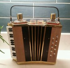 Vintage Accordian Music Box Drink Caddy, 2 Decanters & 4 shot Glasses O Sole Mio
