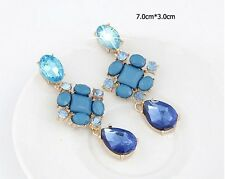 R1292 Women New Fashion Resin Flowers Rhinestone Tear Drop Stud Earrings