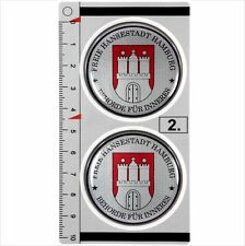 Hamburg​​​ set of 2 German Number Plate Seal Stadt Resin 3D Domed Sticker Badge