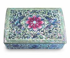 Jewelry Trinket Box Mother of Pearl Inlay Hand Crafted Butterflies Pink Flower