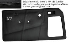 BLACK STITCH 2X FRONT DOOR CARDS LEATHER COVERS FITS TALBOT SUNBEAM & LOTUS TI