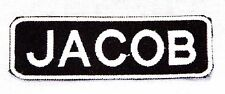 JACOB White on black Iron on Name Badge Patch for Biker Vest Jacket NB225