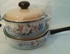 Vintage Enamel Dutch Oven and Frying Pan Lot with Lids Beautiful