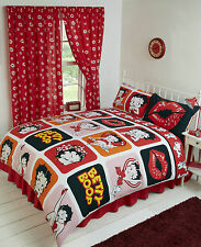 BETTY BOOP ORANGE RED PINK PICTURE PERFECT RED LIPS DOUBLE BED DUVET COVER SET