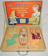 "1936 Effanbee Patsy Crocheting & Knitting Instructor Craft Kit 8"" Tinyette Doll"