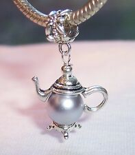 Teapot Silver Gray Pearl Tea Pot Kitchen Dangle Bead for European Charm Bracelet