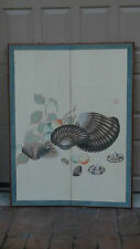 """ANTIQUE CHINESE 2 PANELS WATERCOLOR FOLDING SCREEN """"SEASHELLS AND FRUIT""""SEAL"""