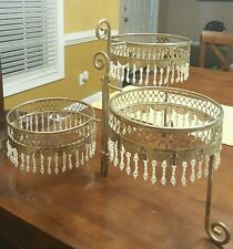 Davco Silver Ltd. 3 tier cake stand collapsable plastic crystal embellishments