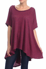 FREE PEOPLE CIRCLE IN THE SAND RED BLUE SHORT SLEEVE STRIPED HI-LOW TOP M/L