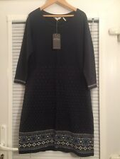 Fat Face Ladies Blue Fairisle Snowflake Nordic Knitted Tunic Dress Size 10