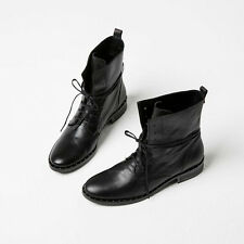 NEW $550 Freda Salvador Roam Lace Up Combat Black Leather Ankle Boots 7.5