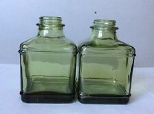 Lot of (2) Green Square Glass Bottles Without Stopped