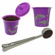 2-Pack Reusable K cup Keurig 2.0 & 1.0 Coffee Filter Pod Coffee Scoop Clip Combo