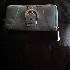 Coach Mineral Blue Patent Soho Buckle Wallet