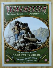 Winchester Big Game Rifles & Ammunition Tin Sign Western Horse Rodeo Rifle D21