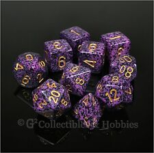 NEW 10 Hurricane Purple Black Speckled Game Dice Set in Tube D&D RPG D20 D12 +